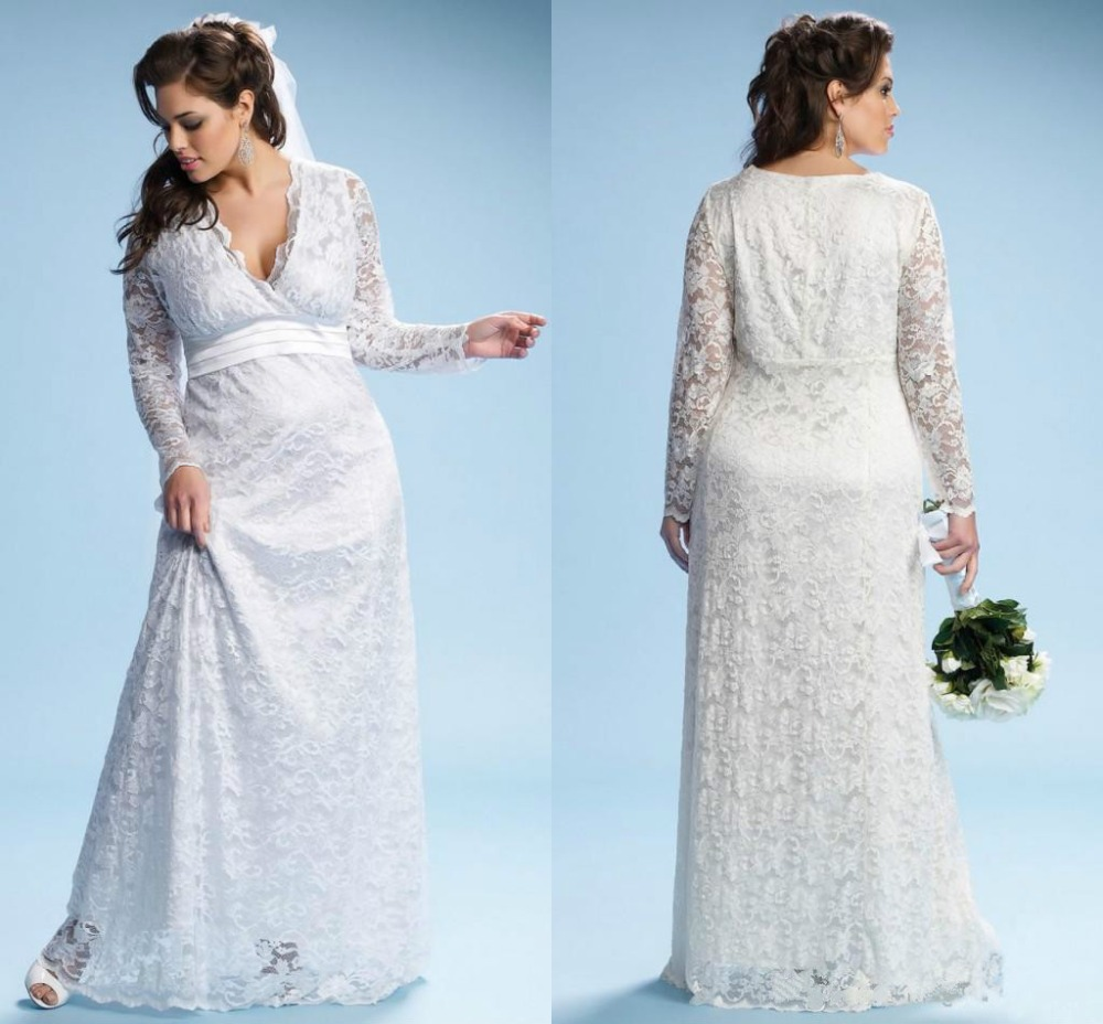 2017 Ivory Maternity Wedding With Long Sleeves Empire Waist Floor Length Plus Size Bridal Gowns Custom Made In From Weddings