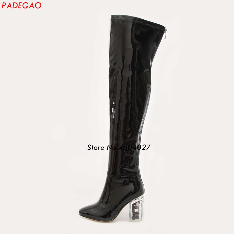 Black Over The Knee Women Boots Patent Leather Clear Heel Shoes Fashion Back Zipper Thick High Heel Boots Black Over The Knee Women Boots Patent Leather Clear Heel Shoes Fashion Back Zipper Thick High Heel Boots
