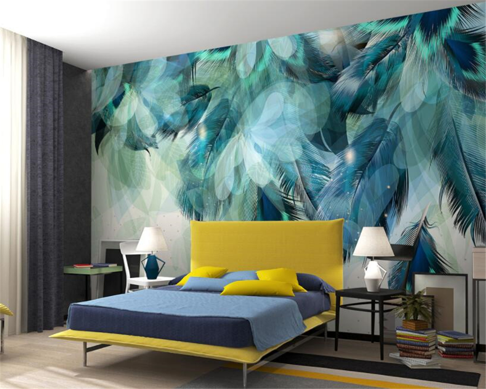 Beibehang Custom Wallpaper Large High Quality 3D Fashion Blue Feather TV Sofa Background Living Room Bedroom murals 3d wallpaper custom murals flowering trees branches pink color flowers wallpapers living room tv sofa wall bedroom 3d wallpaper background