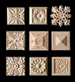Wood Appliques 5 pcs Wooden Carving Boards for Furniture Cabinet Door *Nautical Home Decor Wood Figurine Flower Pattern Carve