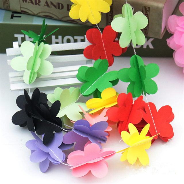 Online shop colorful hanging paper flowers 1set stars butterfly colorful hanging paper flowers 1set stars butterfly garland festa artificial birthday wedding baby shower diy home decoration mightylinksfo