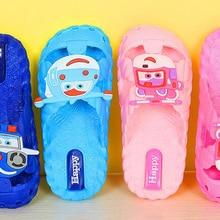 Детская обувь женские сандалии модная летняя для изготовления детской непромокаемой обуви пляжная обувь, сандалии тапочки ПВХ новые дешевые мягкие с закрытым носком Летающий робот голубого и розового цвета