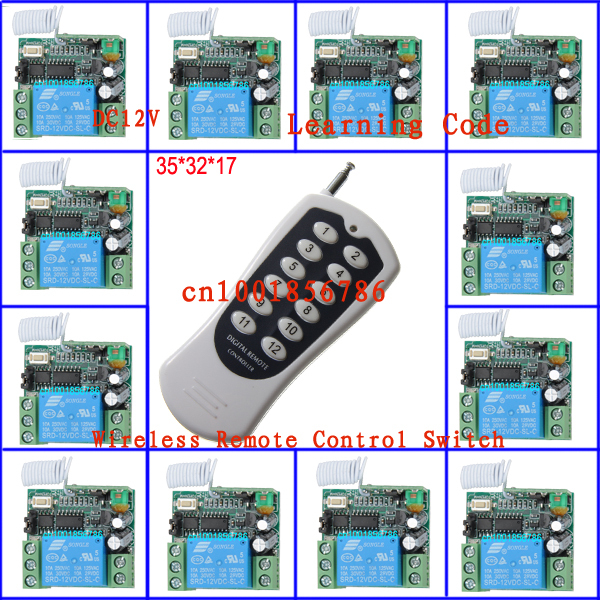 RF Wireless remote control system 20-200M  1 (controller)transmitter +12 receiver(switch)12V 10A 315MHZ-433MHZ wireless pager system 433 92mhz wireless restaurant table buzzer with monitor and watch receiver 3 display 42 call button
