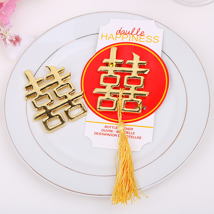 10pcslotfree shippingdouble happiness gold bottle opener asian themed golden weddingbridal shower favors party giveaway