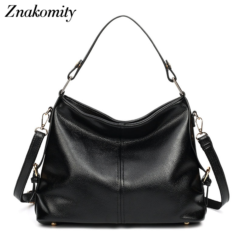 Znakomity Black female bag women s leather messenger shoulder bags for women Tote purses and handbags