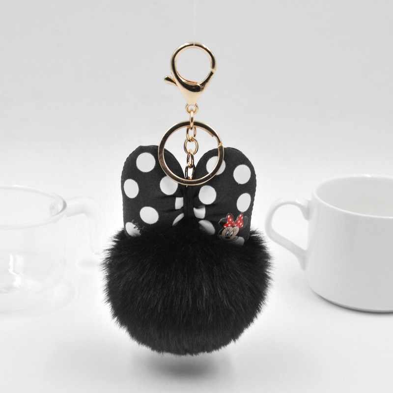 2019 Bola de Pêlo de Coelho Fofo Mickey Keychain Para Mulheres Pompom Pele De Coelho Bowknot Saco do Anel Chave Chave Do Carro Titular de Jóias presente de casamento