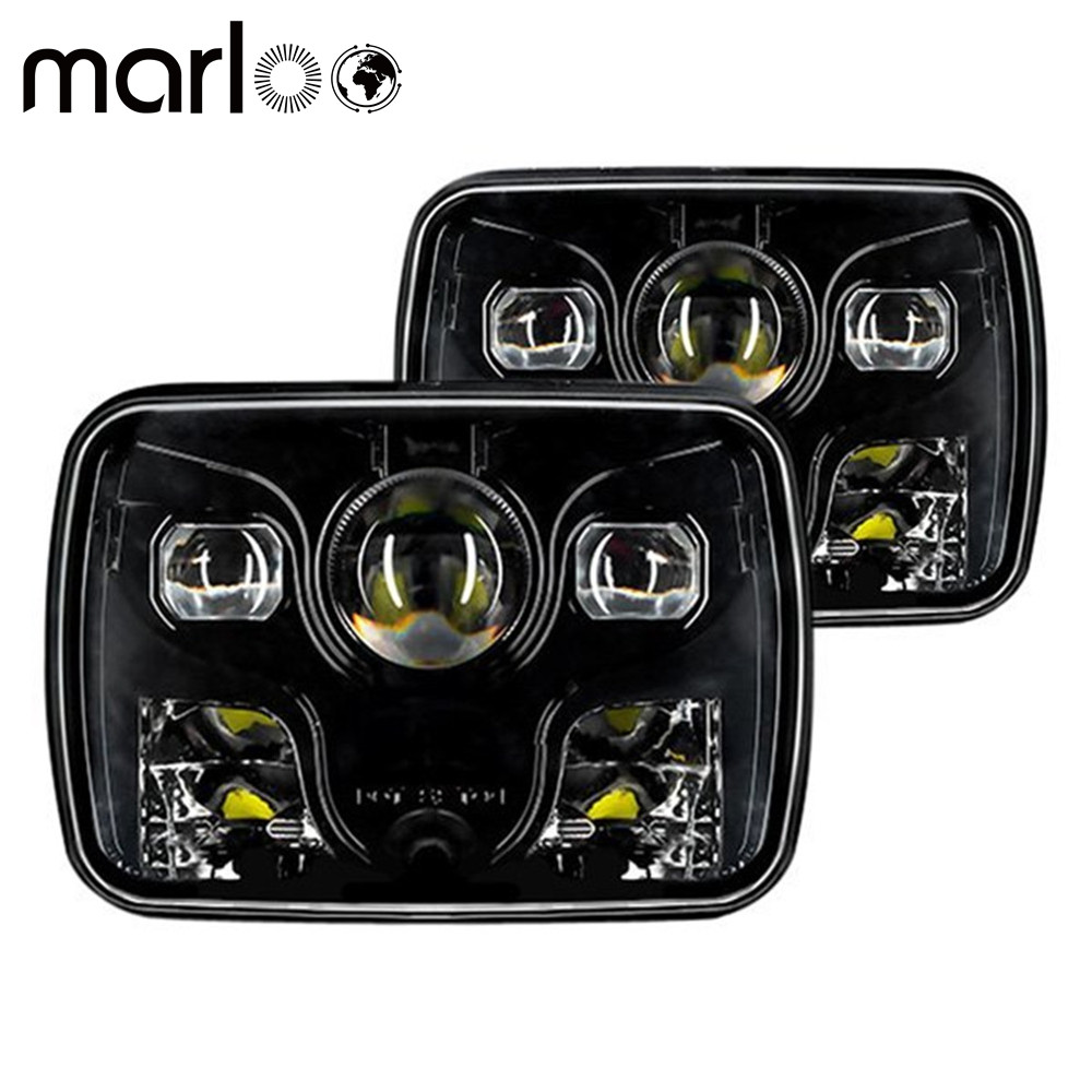 Marloo 1 Pair Rectangular 5x7 Led Headlight High Low Beam Headlamp For Jeep Wrangler YJ Cherokee XJ Trucks 1 pair 7 inch rectangular led headlight