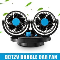 12V Car Fan 2 Head 360 Degree Rotation Car Vehicle Air Cooling Double Fan Silent 2 Speed Adjustable Car Air Conditioner