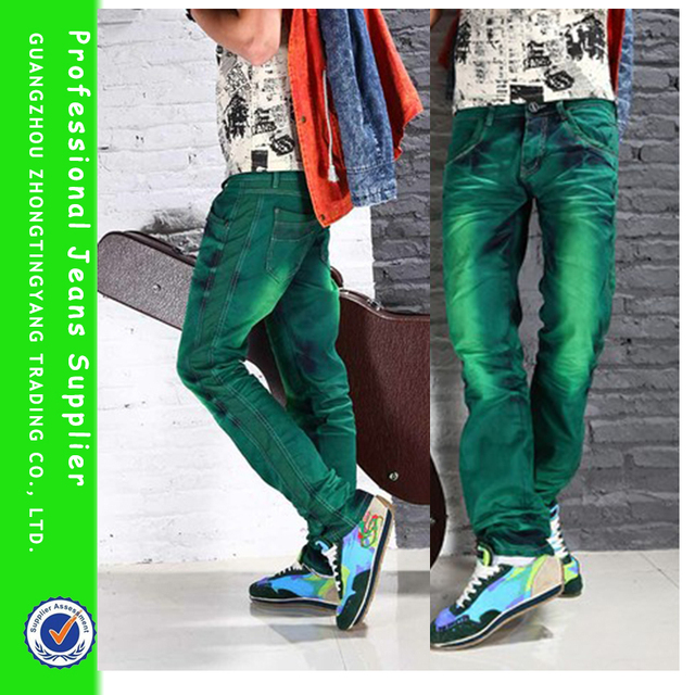 c208f8ab MTS14 New Colored Green Jeans Men Tie Dye Straight Leg Fashion Male Casual  Jeans Pants