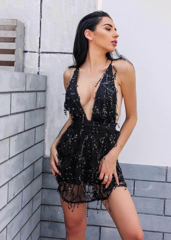 Kleezy A noir Paillettes Parti Décolleté Nu Col ligne B173 Luxe V Robe Celebrity Beige Sexy À Halter Dos De Mini Manches Sans 1raq1B