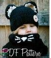 2016 Новая Европа кошка милый ребенок уха Шерсть Шляпа Вязаная Шапка воротник из двух частей крышка оптовая девочка шляпа с шарф теплый