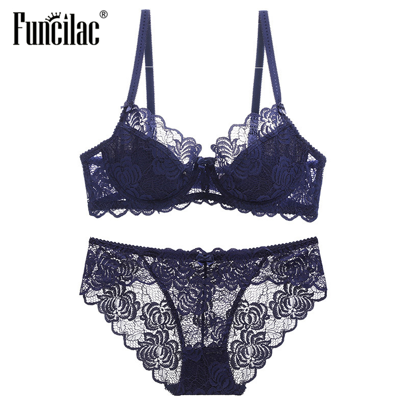 FUNCILAC Brand Sexy Push Up Bra Set Lace Women Underwear Bra and Panties Set Black White Wine red Transparent Briefs Lingerie