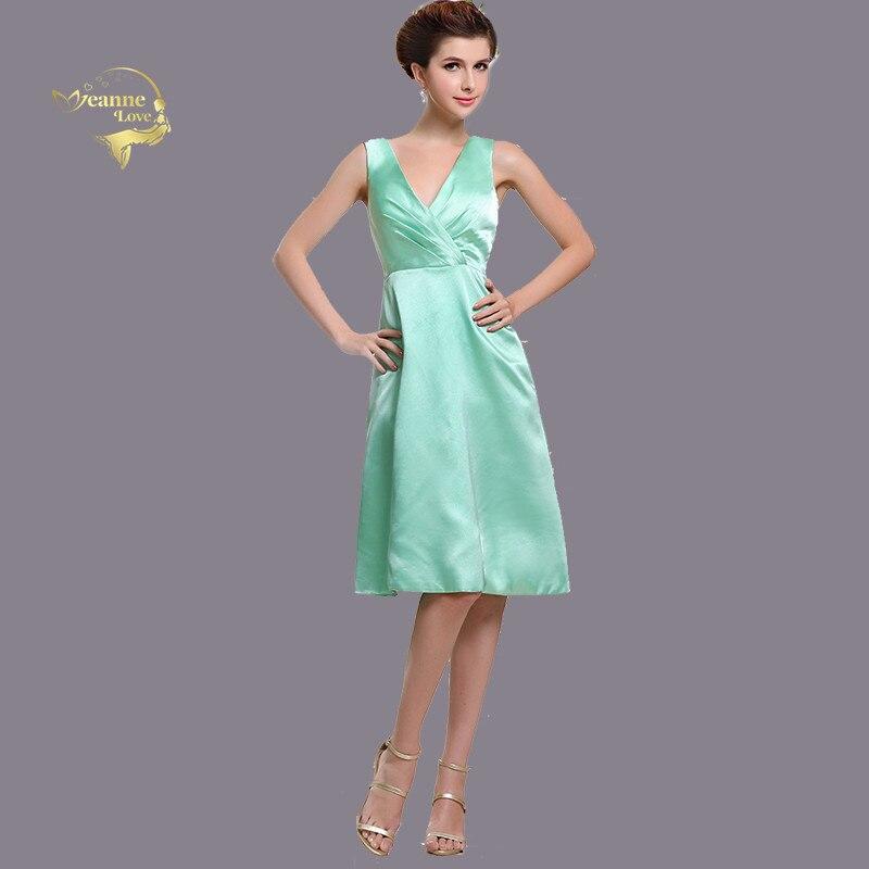 Robes de demoiselle d'honneur vert menthe une ligne genou longueur Satin demoiselle d'honneur courte robe de bal formelle robes de soirée robe pour demoiselle d'honneur femmes