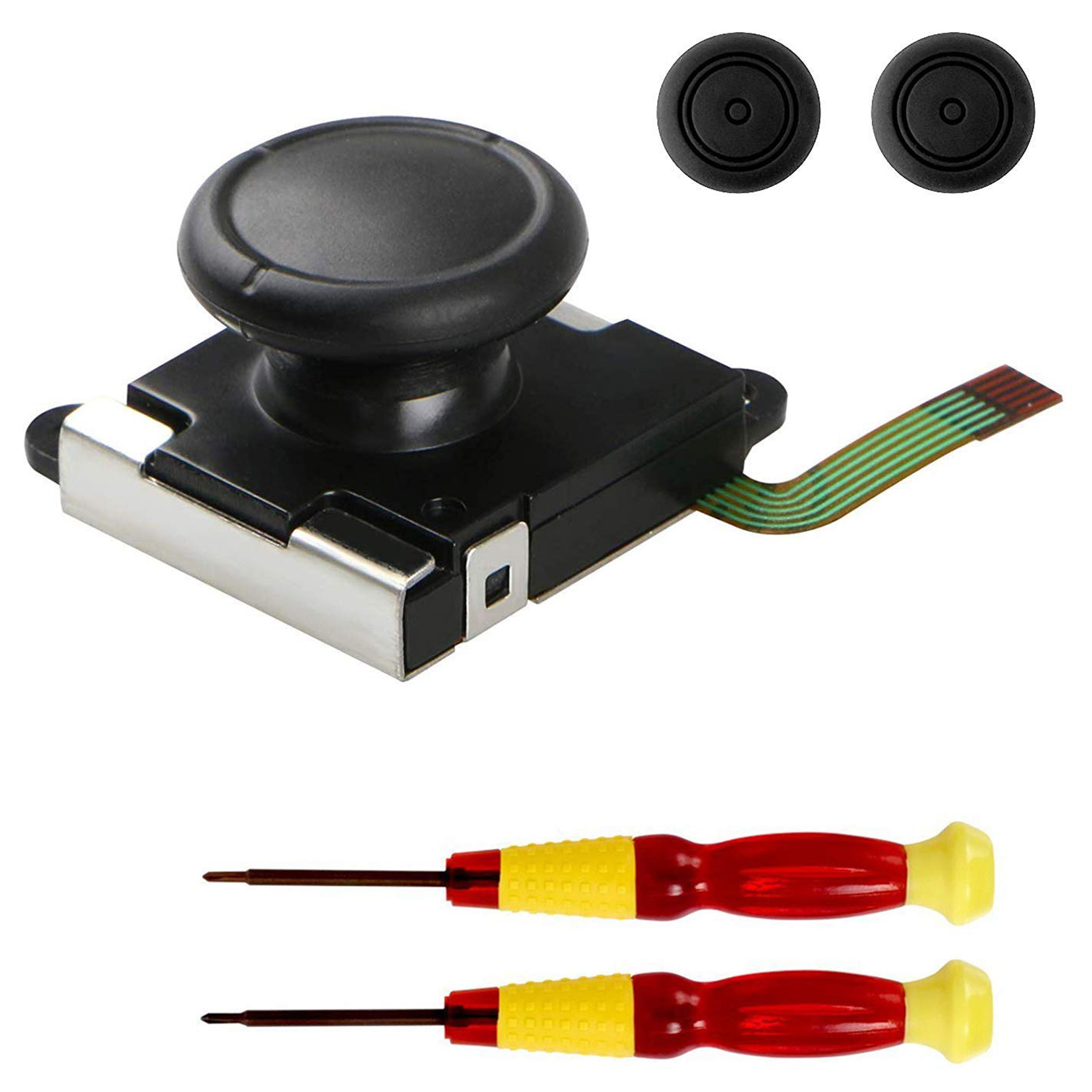 3D Replacement Joystick Analog Thumb Stick For Nintendo Switch Joy-Con Controller - Include Tri-Wing & Cross Screwdriver Tool