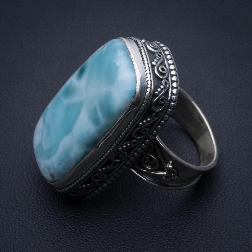 Natural Caribbean Larimar Vintage 925 Sterling Silver Ring, US Size 6.75 R3439Natural Caribbean Larimar Vintage 925 Sterling Silver Ring, US Size 6.75 R3439