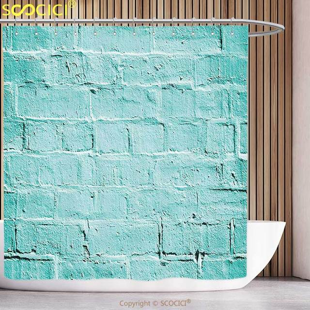 Decorative Shower Curtain Mint Brick Old Wall Background In Vibrant Tones Architecture Urban Building Artsy Picture Turquoise