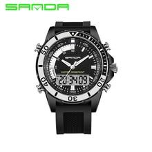 SANDA Shock 3ATM Военные стильные брендовые Роскошные Мужские Цифровые силиконовые мужские уличные спортивные часы многоцветные Relogio Masculino