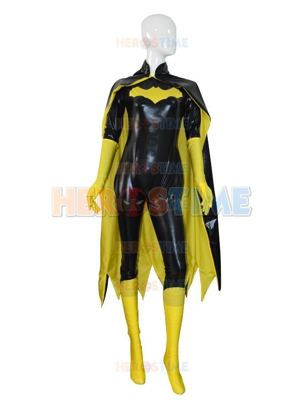 Batgirl Costume Shiny Metallic Female/Girls/Lady/Women Superhero Costume For Halloween Cosplay The Most Popular Shiny Suit