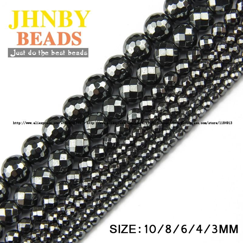JHNBY AAA Naravni kamen Črni hematit kroglice okrogle fasete ohlapne kroglice Kamena kroglica 3/4/6/8/10 mm za nakit zapestnico Izdelava DIY