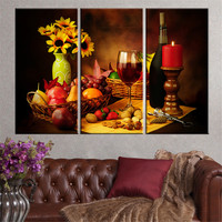 Retro Style Canvas Painting Flower Fruit Wine Oil Picture Scenery Art Print Poster Vintage Unframed Home Decoration 3 pieces