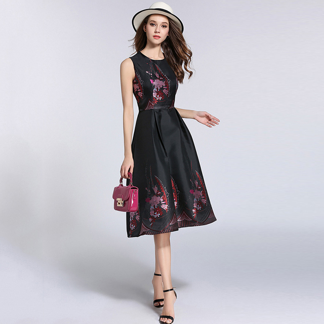 Evening Party Dress Women Black White Floral Plus Size Dress Flower
