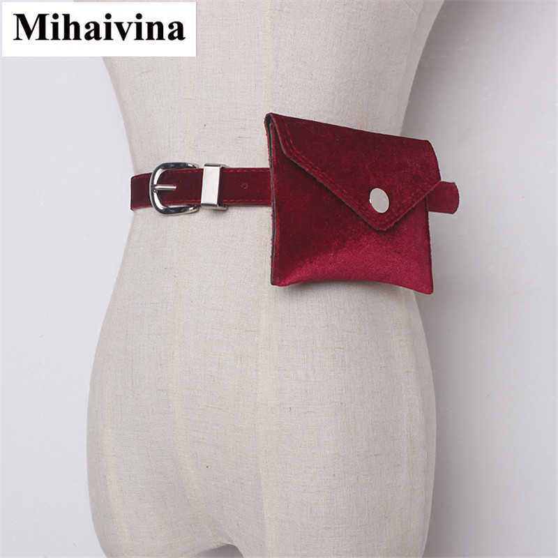 Mihaivina Fashion Women Waist Bag Leather Colorful Waist Packs Velvet Hip Belt Bum Fanny Pack Lady Pouch Bags Cell Phone Pockets