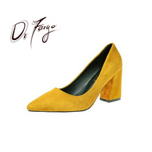 DRFARGO Women Shoes High Heels Stable Square Heel Summer Autumn Femme Chaussure Office Lady Dress Shoes Flock Pumps size 34-39