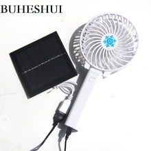 BUHESHUI 1W 5.5V Solar Powered Panel  Fan For Home Office Outdoor Traveling Fishing Foldable Handheld Mini Fan USB Power New