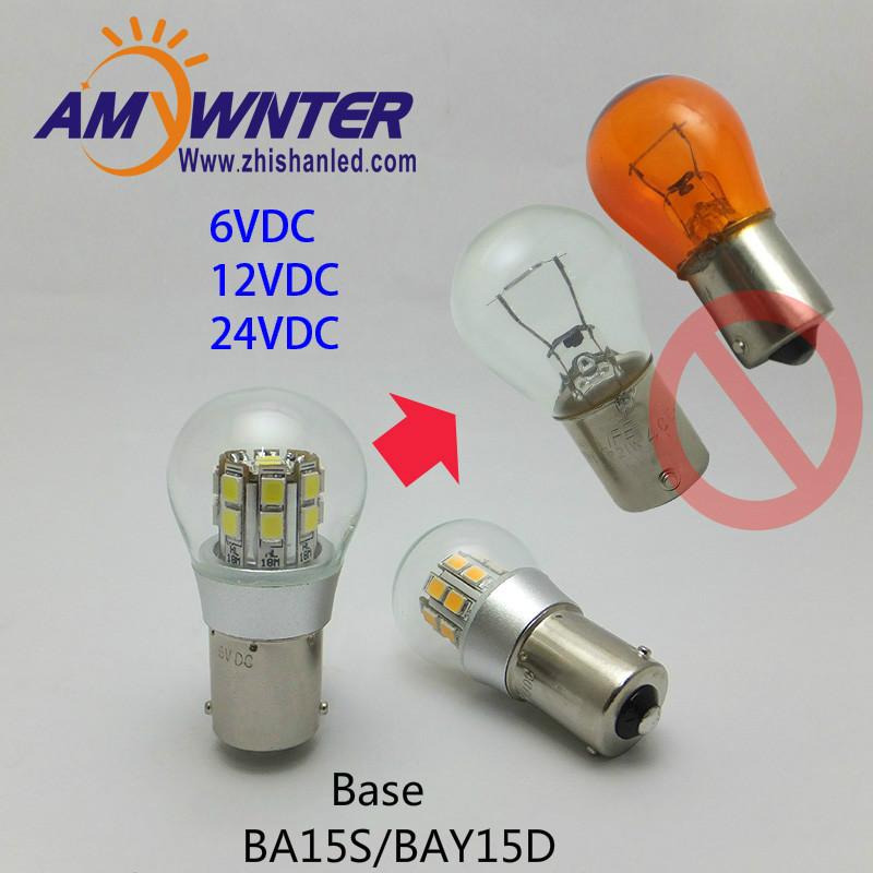 AMYWNTER 1156 led P21W Dual-intensity 6V LED Bulb, BAY15d P21/5W SMD LEDs Car-ship Indicator Light, Rear 12VDC Bulb