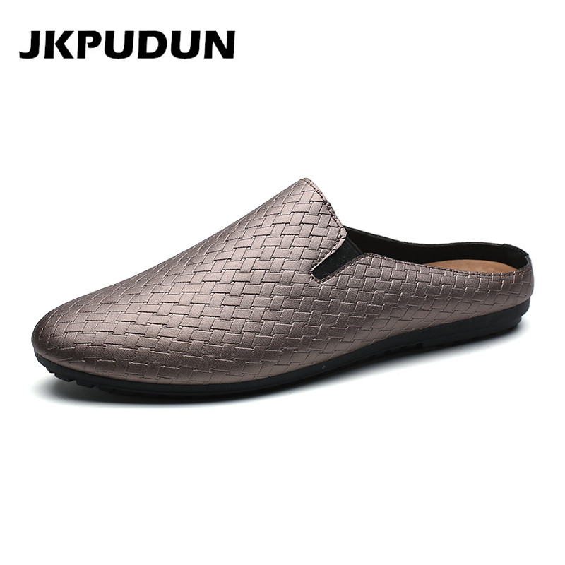 JKPUDUN Summer Mens Weave Loafers Slipon Half Shoes Casual