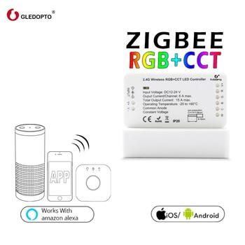 GLEDOPTO ZIGBEE link light zll RGB + CCT led strip controller rgbcct dc12-24v ความเข้ากันได้ aleax plus le อีกมากมายเกตเวย์