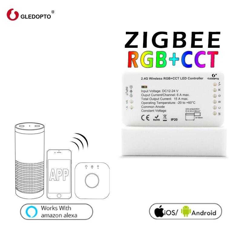 Rgbcct dc12-24v compatibilidade aleax mais le e muitos gateways gledopto zigbee link luz zll rgb + cct led tira controlador