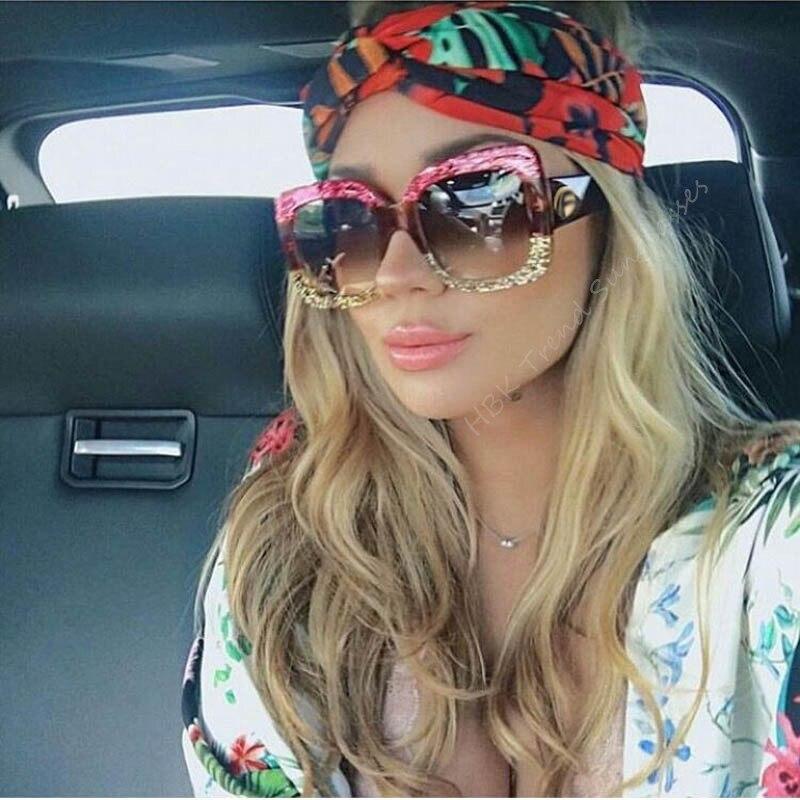 HBK Luxury Italy Brand Oversized Square Sunglasses Women Retro Brand Designer Big Frame Sun Glasses Female Green Red oculos 2018 lingerie top
