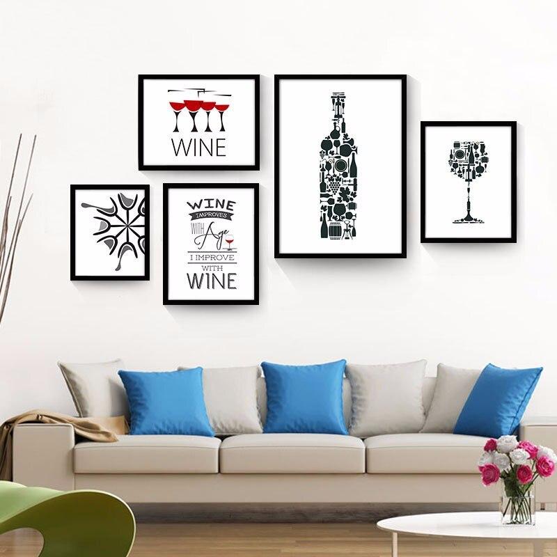 Artdom no enmarcado arte minimalista negro blanco botella de vino ...