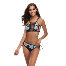 ECTIC Hot Sexy Beach Bikini Set In The Waist Fashion Womens Printing Sports Split Swimsuit Push-ups Thickening