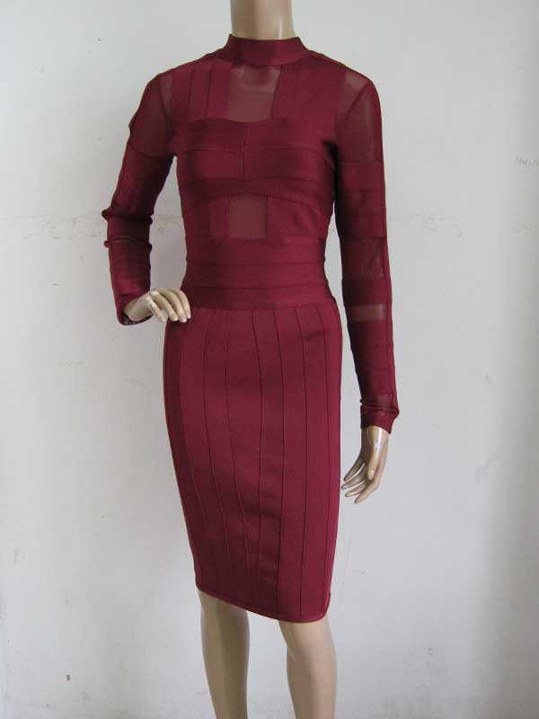 factory wholesale New Dress Red wine Long sleeve celebrity Tight sexy Cocktail party Bandage dress (L1144)