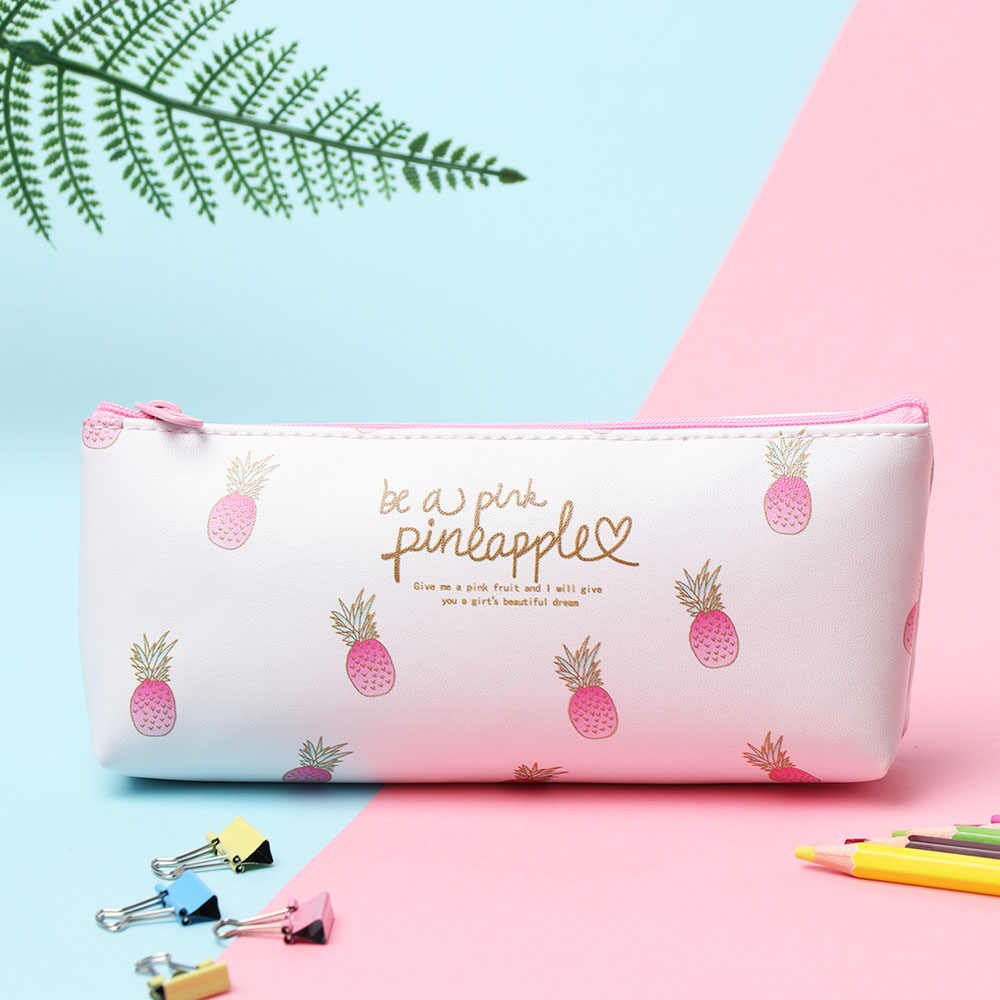 1PC Women PU Leather Cosmetic Brushes Bag Strawberry Printed Eyeliner Eyebrow Pencil Pouch Storage Organizer Makeup Tools Kit