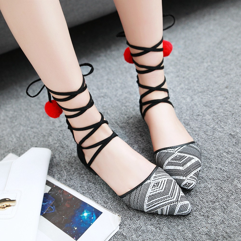 rojo Plana Zapatos Gran De 34 Punta Tobillo Sandalias Memunia Mujer Tamaño blanco Bohemia Correa Tejido Negro Vestido Nuevo Casual 43 UwPqFwpdax