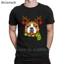 760277d8e Bulldog Xmas Reindeer Horns Dog Lover Christmas T-Shirt Round Collar  Knitted Humor T Shirt