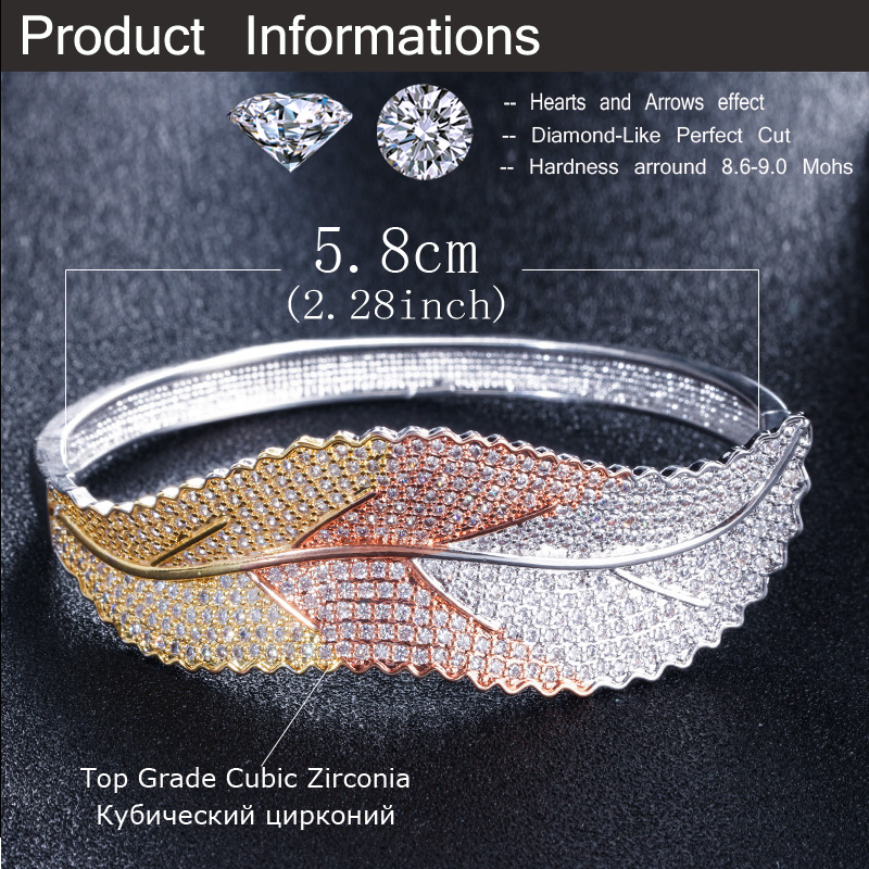 CWWZircons 3 Tones Silver and Rose Gold Color Leaf Shape Big Micro Pave Cubic Zirconia Luxury Open Cuff Bangle for Women BG016