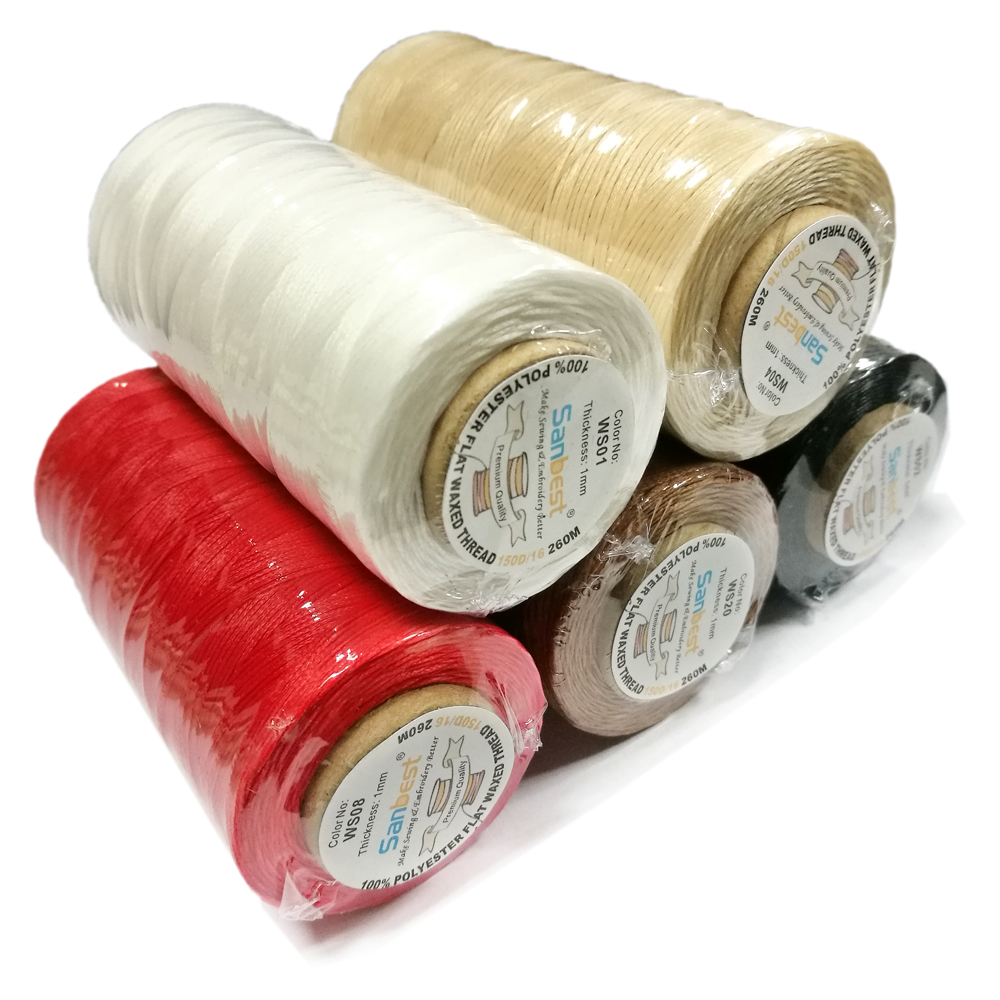 Sanbest High Quality 1mm 260 Meter 22 Colors Durable Leather Waxed Thread Cord for DIY Handicraft Tool Stitching Thread 150D/16