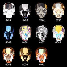 100pcs New Alloy Nail Charms Color skull head Glass rhinestones Halloween Designs/Nails Rhinestones nails jewelry