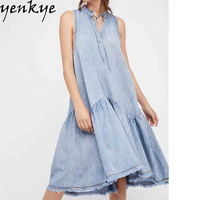 Women Fashion Big Swing Blue Denim Dress Lace Up Stand Collar Sleeveless Tank Summer Dress 2017