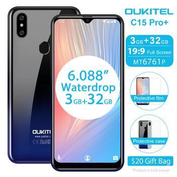 Перейти на Алиэкспресс и купить Смартфон OUKITEL C15 Pro + 6,088 дюйма 19:9, Android 9,0 Pie, 4G, FDD, мобильный телефон, 3 ГБ, 32 ГБ, MT6761, экран Waterdrop, распознавание лица, сотовый телефон