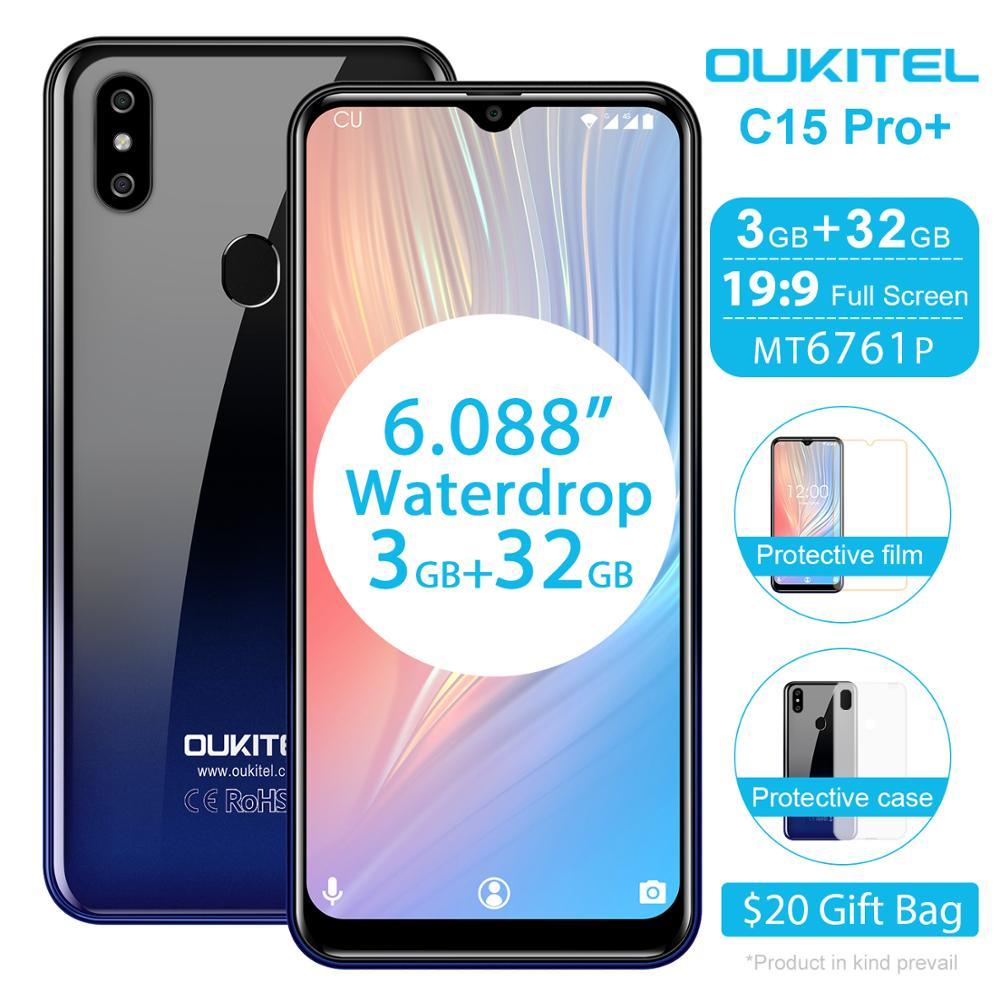 OUKITEL C15 Pro + 6.088 ''tela 19:9 Smartphone Android 9.0 Torta 4G FDD Mobile Phone 3GB 32GB MT6761 Waterdrop Tela Face ID Celular