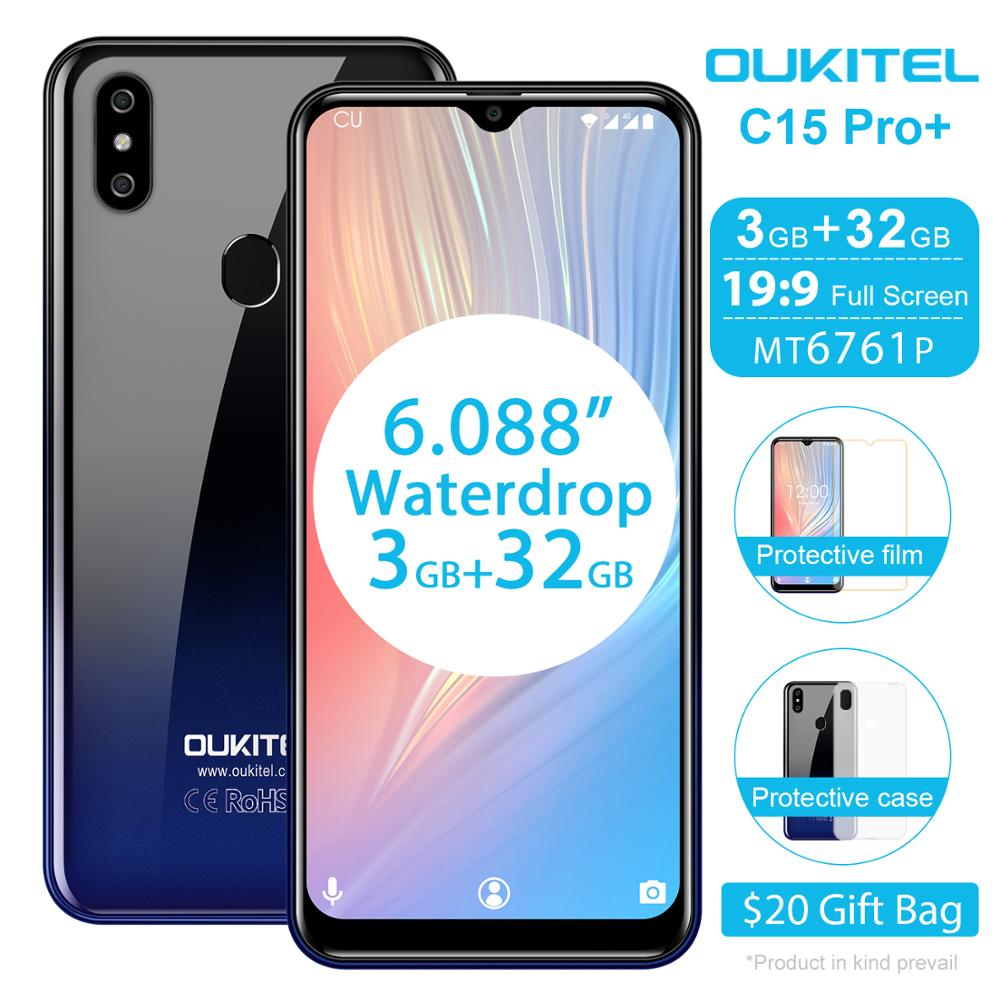 "OUKITEL C15 Pro + 6.088 ""19:9 Smartphone Android 9,0 pastel 4G FDD teléfono móvil 3GB 32GB MT6761 de agua pantalla cara de teléfono móvil"