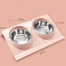 Dog Feeder Cat Double Bowl Puppy Food Water Cute Stainless Steel Pets Travel  Pet