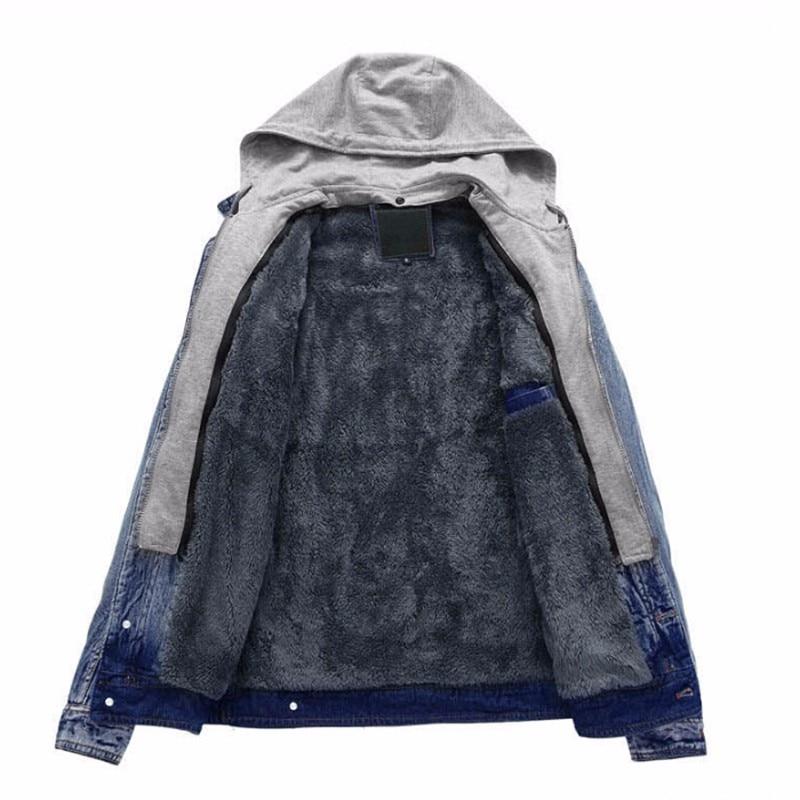 양털 안감 겨울 두꺼운 따뜻한 워시 빈티지 남성 데님 재킷 남자 후드 청바지 코트 블랙 그레이 블루