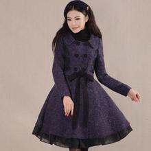 Размера плюс 3XL! Зимние женские модные двубортные сшитые винтажные тонкие шерстяные пальто женские шерстяные смеси