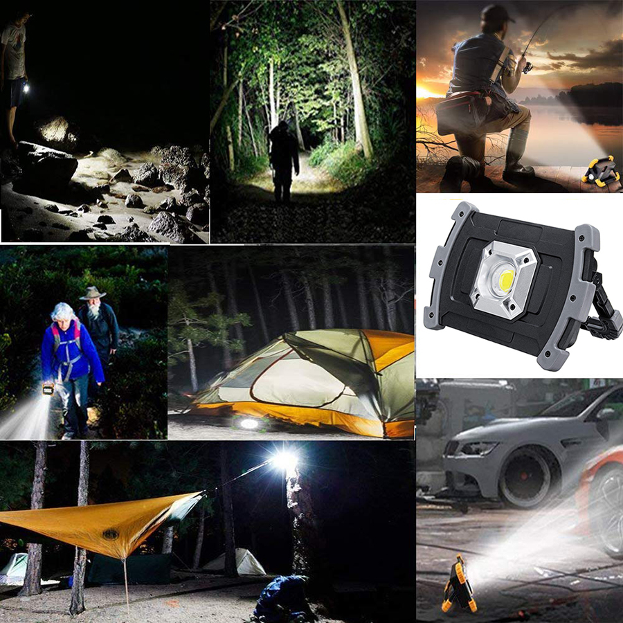 Купить с кэшбэком 20W COB Portable Lanterns Spotlight USB Rechargeable Led Work lamp Emergency Flashlight Outdoor Light For Hunting Camping Hiking